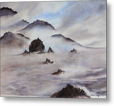 Mists Of Haystack Rock Metal Print