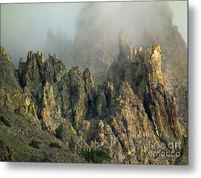Misty Crags Metal Print
