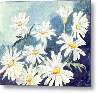 Metal Print featuring the painting Misty Daisies by Katherine Miller