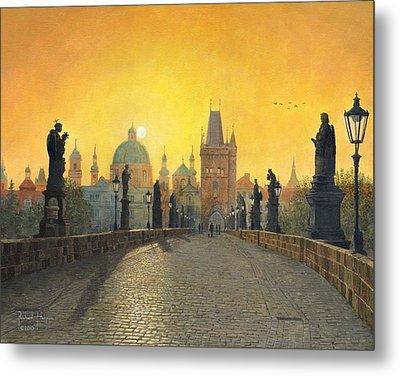 Misty Dawn Charles Bridge Prague Metal Print