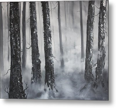 Metal Print featuring the painting Misty Forest by Jean Walker