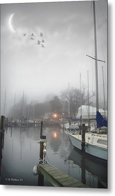 Misty Harbor Lights Metal Print by Brian Wallace