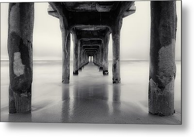 Misty Manhattan Pier Metal Print