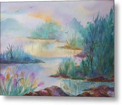 Misty Morn On A  Mountain Lake Metal Print by Ellen Levinson