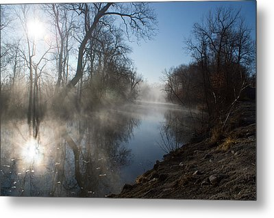 Misty Morning Along James River Metal Print by Jennifer White
