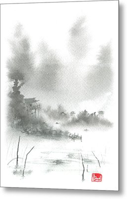 Metal Print featuring the painting Misty Morning Fishing Village by Sean Seal