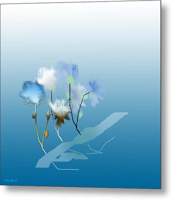 Metal Print featuring the digital art Misty Morning Flowers by Asok Mukhopadhyay