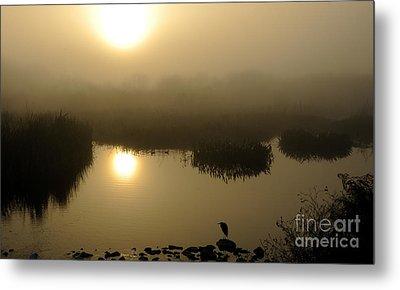 Misty Morning In The Marsh Metal Print by Nancy Greenland