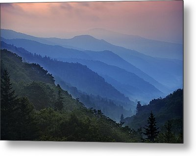 Misty Morning In The Mountains Metal Print