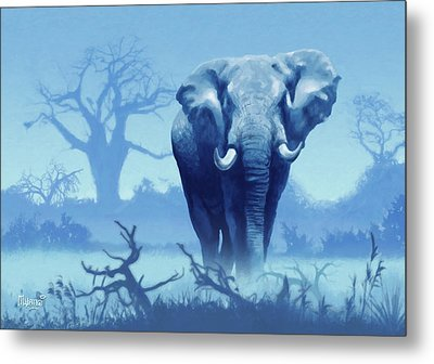 Misty Morning In The Tsavo Metal Print by Anthony Mwangi