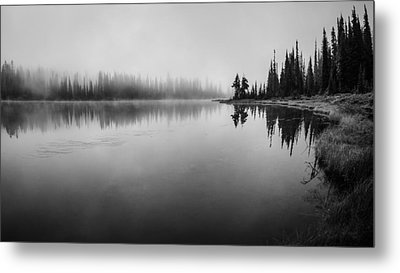 Misty Morning On Reflection Lake Metal Print by Brian Xavier