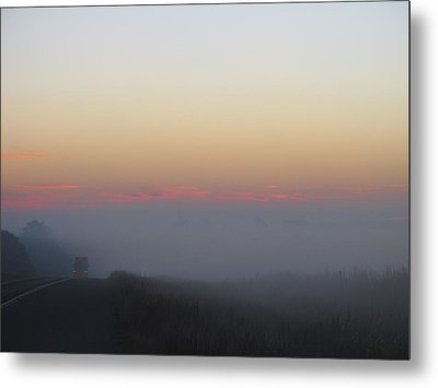 Misty Morning Road Metal Print by Wendy J St Christopher