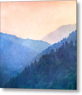 Misty Mountain Sunset Metal Print