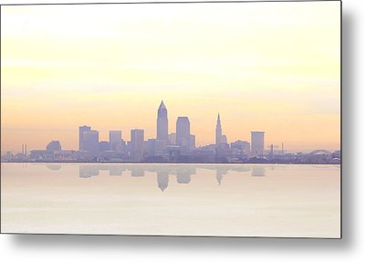 Misty Sunrise In Cleveland Metal Print by Kitty Ellis