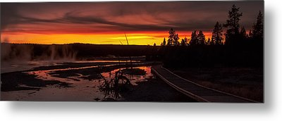 Misty Vapors In The Sunset - Yellowstone National Park Metal Print by R J Ruppenthal