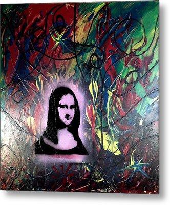 Mixed Media Abstract Post Modern Art By Alfredo Garcia Mona Lisa 2 Metal Print