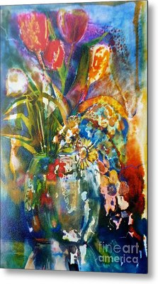 Mixed Media Tulips Metal Print by Donna Acheson-Juillet