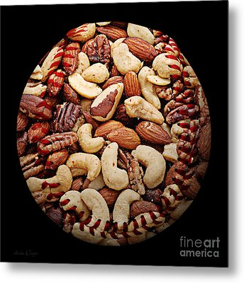 Mixed Nuts Baseball Square Metal Print by Andee Design