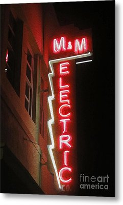 Mm Electric Sign At Night Metal Print by Gregory Dyer