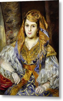 Mme. Clementine Stora In Algerian Dress, Or Algerian Woman, 1870 Oil On Canvas Metal Print by Pierre Auguste Renoir