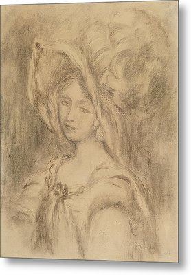 Mme Dieterle In A Hat, C.1896 Charcoal On Paper Metal Print by Pierre Auguste Renoir
