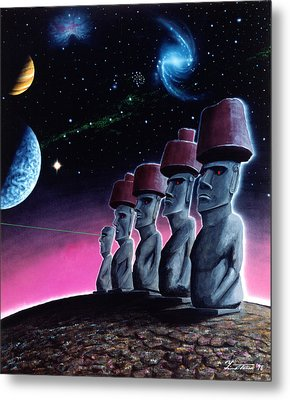 Moai On The Small Planet Metal Print