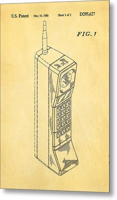 Mobile Phone Patent Art 1988 Metal Print by Ian Monk