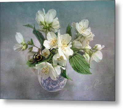 Sweet Mock Orange Blossom Bouquet With Bumble Bee  Metal Print