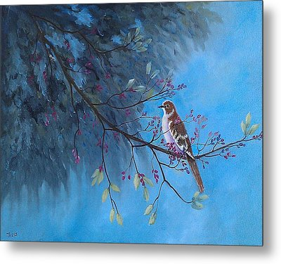 Metal Print featuring the painting Mockingbird Happiness by Suzanne Theis