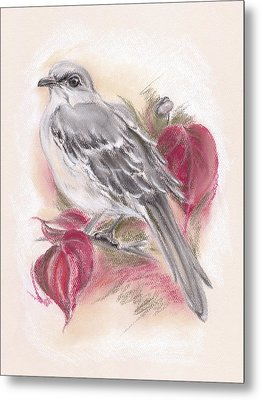 Mockingbird In Autumn Dogwood Metal Print by MM Anderson