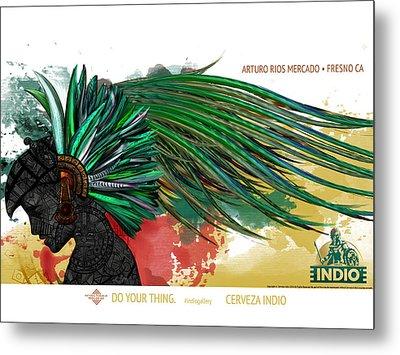 Moctezuma Aztec Ruler Metal Print by Arturo Rios Mercado