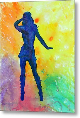Mod Girl Female Silhouette Abstract Metal Print by Bob Baker