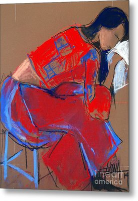 Model #3 - Woman Wiping Her Face - Figure Series Metal Print by Mona Edulesco
