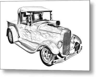 Model A Ford Pickup Hotrod Illustration Metal Print