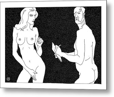 Model And Artist 19 Metal Print by Leonid Petrushin