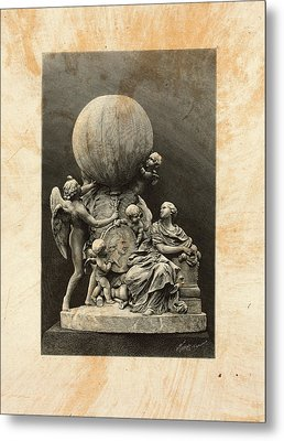 Model Of A Statue Dedicated To French Balloonists Metal Print by Litz Collection
