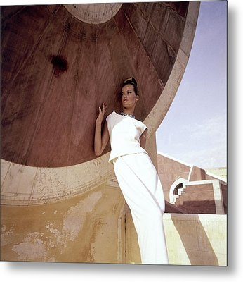 Model Veruschka Wearing A Two-piece Dress Metal Print