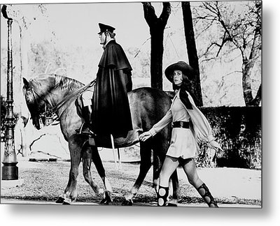 Model Walks Along With A Horse In The Piazza Di Metal Print