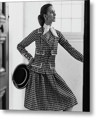 Model Wearing A Chanel Suit Metal Print