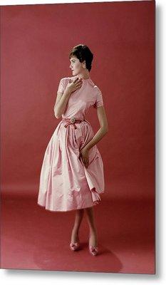 Model Wearing A Pink Satin Dress Metal Print