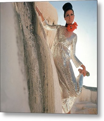 Model Wearing A Silver Sequined Dress By Anne Metal Print