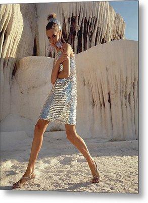 Model Wearing A Silver Sequined Dress By Joan Metal Print
