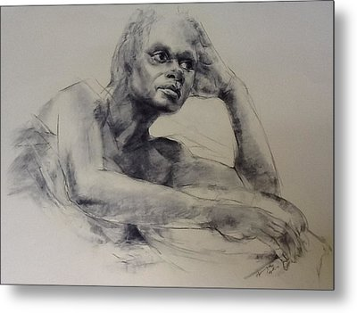 Model With Basket Metal Print by Stephen Gwoktcho