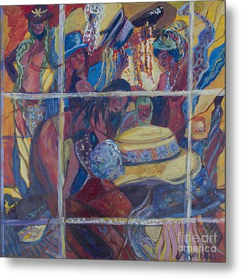 Metal Print featuring the painting Models Dressing In A Hat Store Window by Avonelle Kelsey