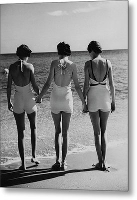 Models On A Beach Metal Print