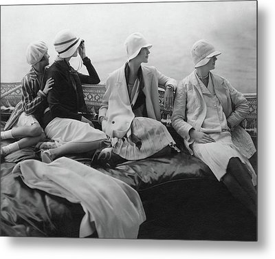 Models On A Yacht Metal Print