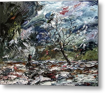 Modern Abstract Expressive Lost  Metal Print by Ginette Callaway