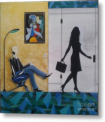 Modern Businessman Sitting In Chair Metal Print by John Lyes