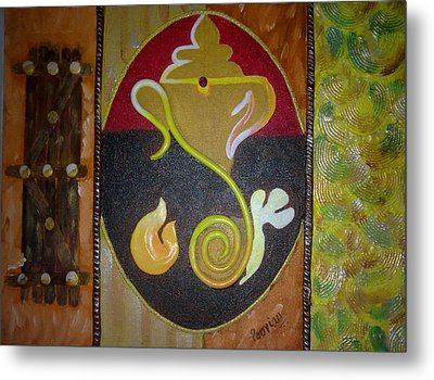 Mixed Media Ganesha Metal Print by Poornima Ravi