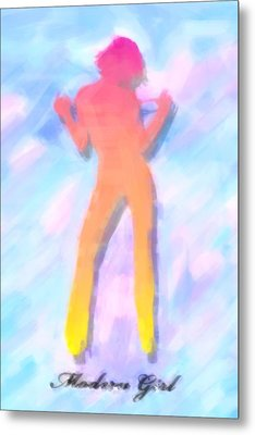 Modern Girl In Abstract Oil Metal Print